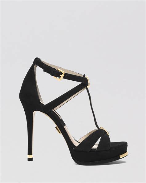 high heeled platform sandals lyst michael kors open toe platform sandals leandra