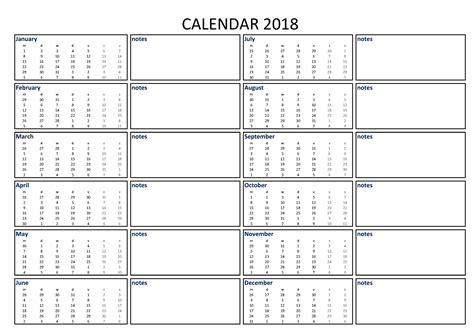 calendar excel   notes    printable   excel calendar including
