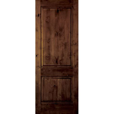 Rustic Interior Doors Krosswood Doors 18 In X 80 In Rustic Knotty Alder 2 Panel Square Top Solid Wood Right