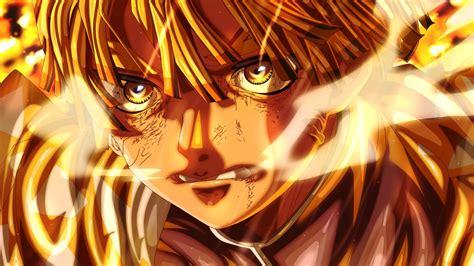 demon slayer zenitsu agatsuma  yellow eyes  waves