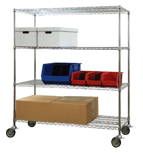 chrome mobile store mobile wire shelving cart quality material handling