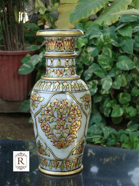 home decor handicrafts marble vases gold painted marble pot vase stone handicraft painting decor gift art