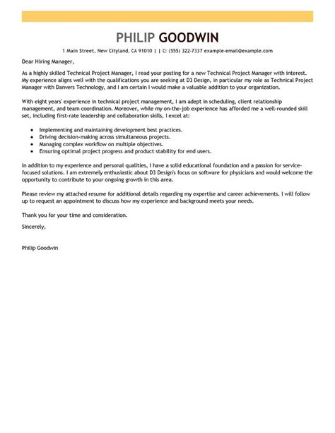 cover letter for a project manager position technical project manager cover letter exles