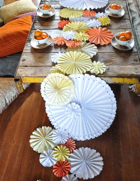 Paper Table Decorations To Make - diy pinwheel table runner green wedding shoes wedding