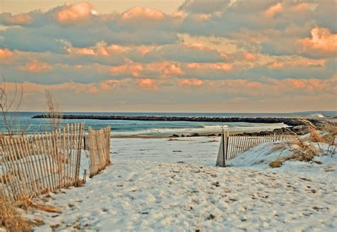 snowy beach a cold day at the salisbury beach state