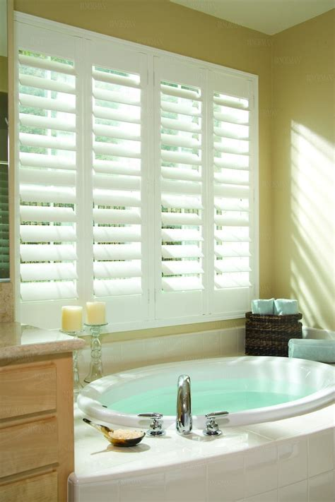 shutters bathroom window white wood shutter in spa bathroom decor pinterest