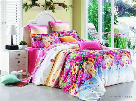 Colorful Duvet Covers Stylish Colorful Flower Floral Pattern Pink 4pcs