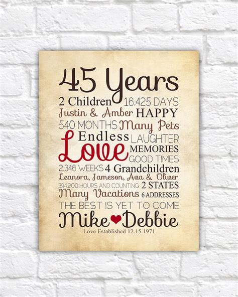 Anniversary Gift for Parents, 45 Year Anniversary, 45th