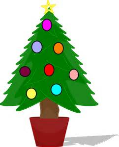 christmas tree with rainbow color ornaments clip art at