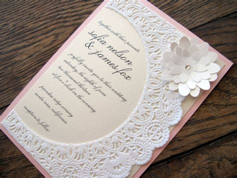 vintage shabby chic lace doily wedding invitation by