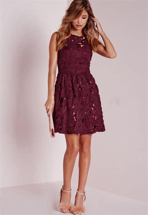 sleeveless lace skater dress plum missguided