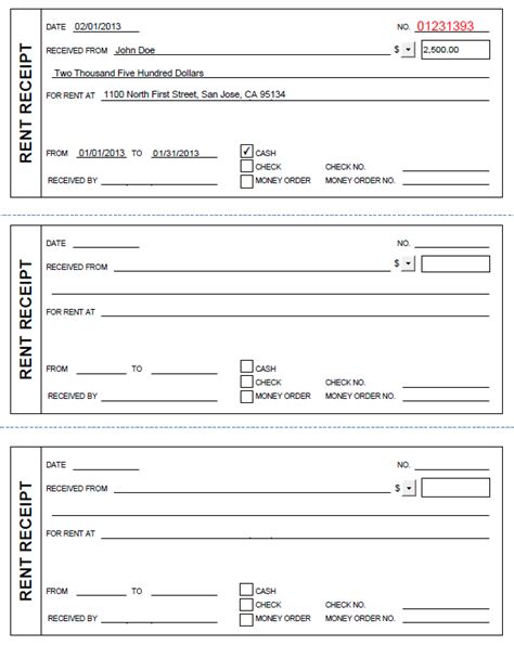 rental receipt template rent receipt template pdf