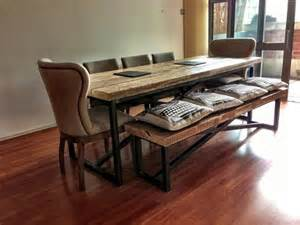 Large Dining Table And Benches Industrial Mill Style Large Reclaimed Wood Dining Table