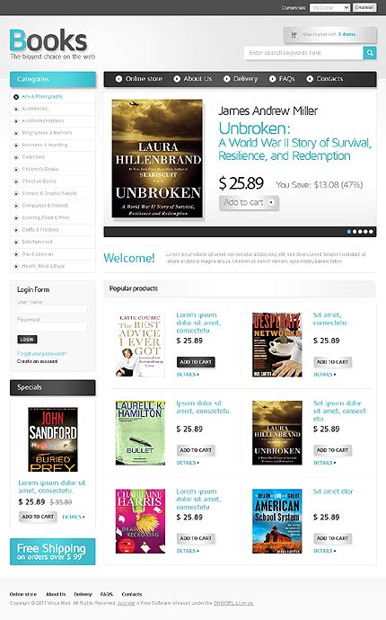 10 books stores and reviews virtuemart templates