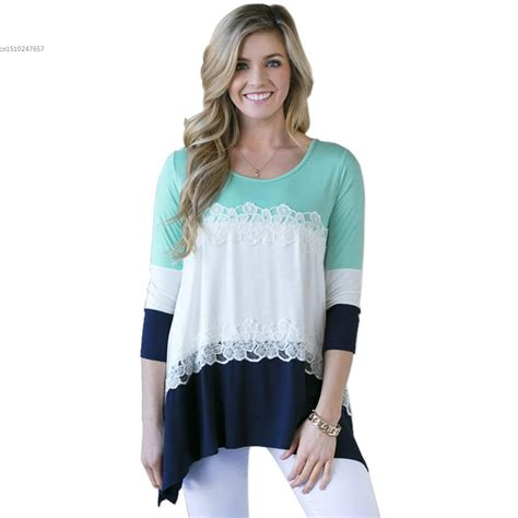 Blouse 3 Tone Sweater 3 Warna autumn fashion contrast color striped matching t shirt 3 4 sleeve lace blusa