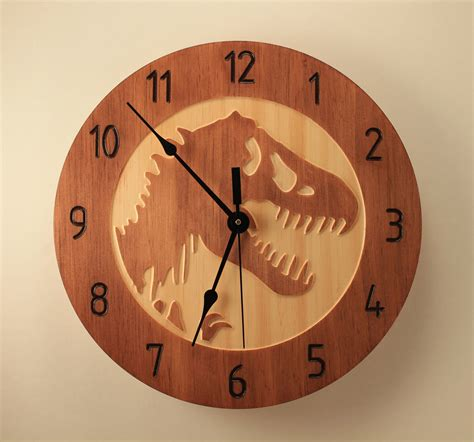 wooden wall clock pine t rex clock dinosaur clock wood clock wall clock wooden