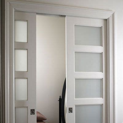 double pocket doors  laundry room frosted glass