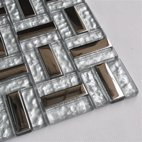 Metal Tiles For Kitchen Backsplash Silver Stainless Steel Backsplash Clear Glass Tile Metal Mosaic