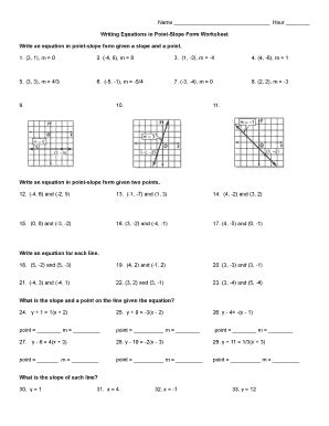 Point Slope Form Practice Worksheet by Point Slope Form Worksheet Fill Printable