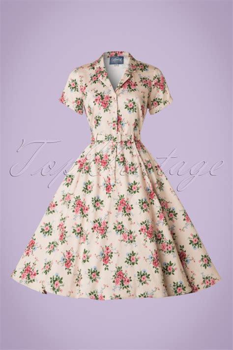 40s swing dresses 40s caterina floral swing dress in beige