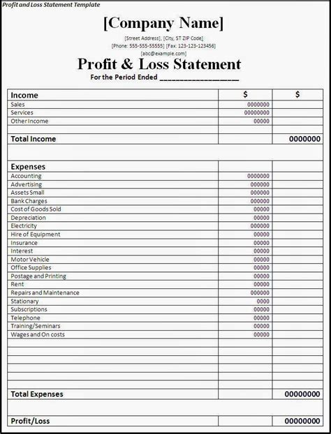 project profit and loss template financial templates