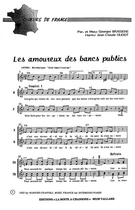 Les Amoureux Des Bancs Publics Paroles by Partition De Musique 233 Diteur De Partitions Pour Chorale