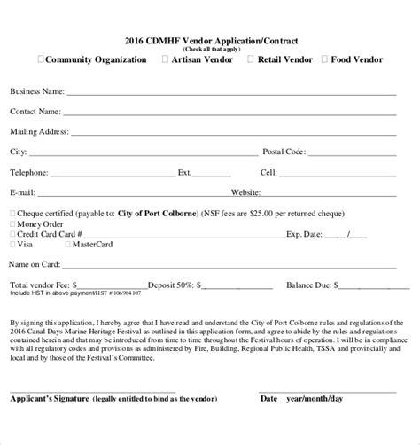 10 Vendor Application Templates Free Sle Exle Format Download Free Premium Templates Craft Vendor Application Template