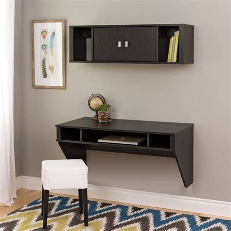 Designer Floating Desk by Designer Floating Desk With Hutch In Washed Finish Hehw 0500 1 Pkg