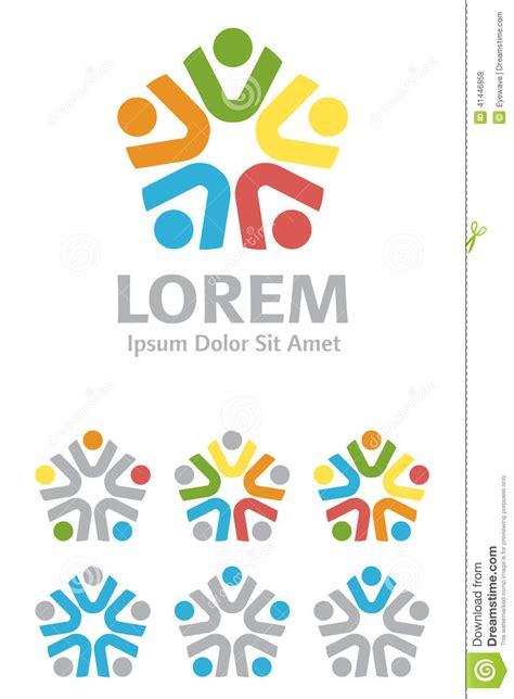 design elements group multi ethnic group logo design element set stock vector
