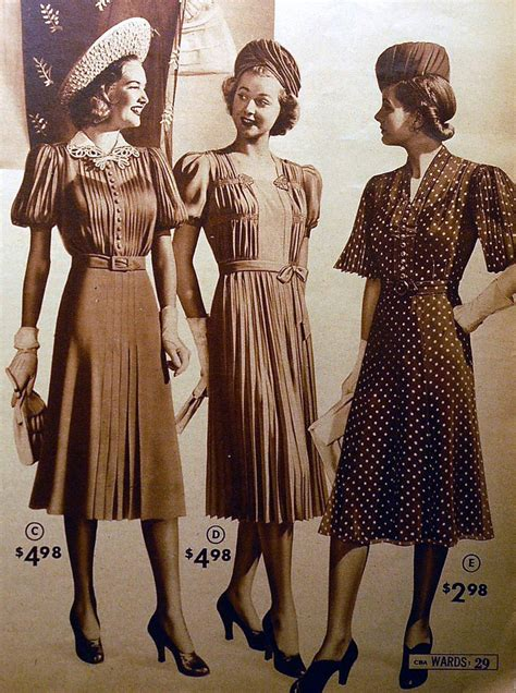 fashion in the depression era 1930 hairstyles women 1939 montgomery ward catalog fashions pleats tucks and