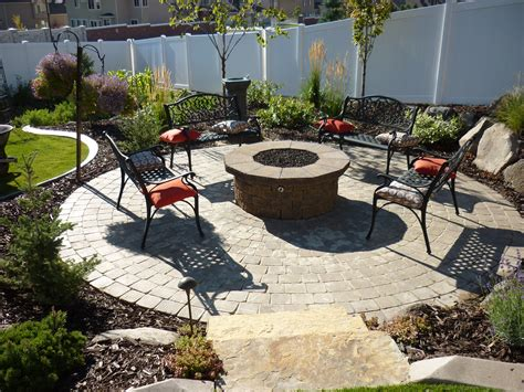Patio And Firepit Paver Patio And Gas Pit Chris Landscaping In Salt Lake City And Utah County