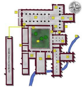 monastery floor plan layout of an abbey 1 narthex 2 nave 3 choir 4 transepts north south 5 presbytery 6 high altar