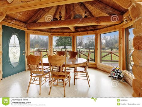 Small Log Cabin Plans With Loft beautiful dining room in log cabin house royalty free