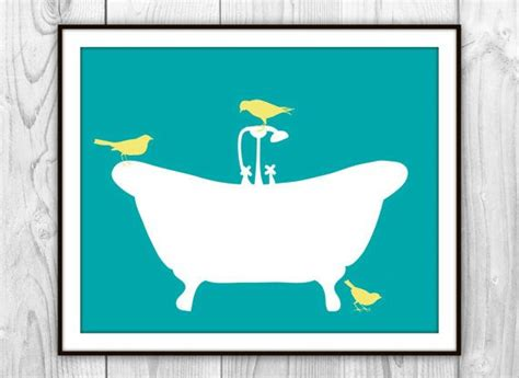 yellow and teal bathroom birds on bathtub art print teal white yellow