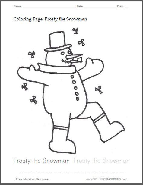 frosty the snowman coloring page pdf jolly snowman coloring page student handouts