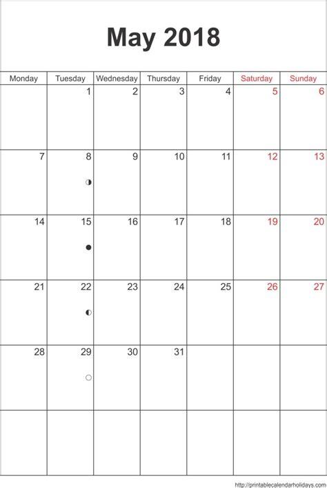 May 2018 Calendar May 2018 Calendar Template Portrait Printable 2017