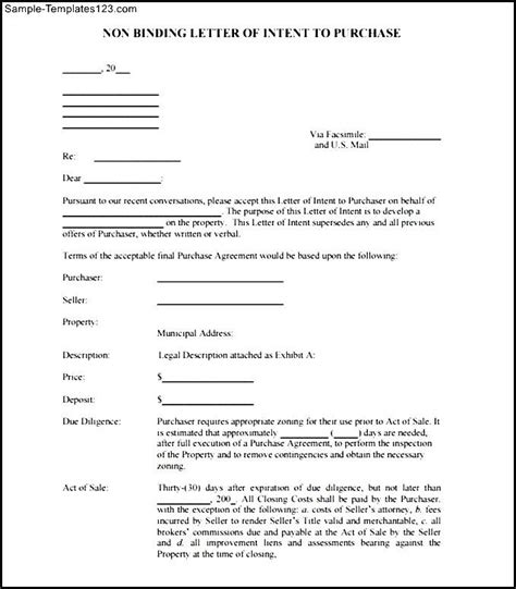 Non Binding Letter Of Intent To Purchase Real Estate Non Binding Letter Of Intent To Purchase Free Pdf Sle Templates