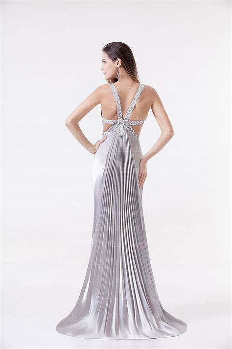 beaded evening gowns 2017 new arrival silver pageant satin beaded floor length
