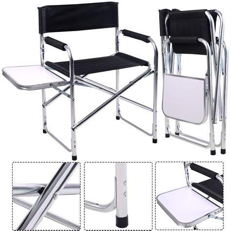 Folding Directors Chair With Side Table Aluminum Folding Director S Chair With Side Table Cing Traveling Goplus