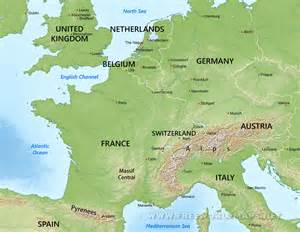 Physical Map Of Western Europe by Western Europe Physical Map