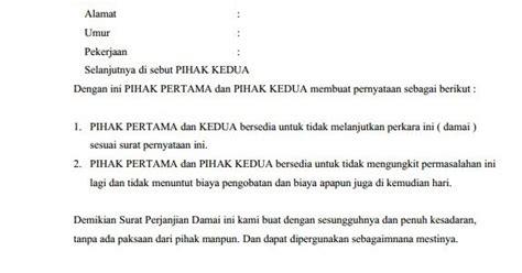 format surat pernyataan damai contoh surat perjanjian damai tidak melanjutkan