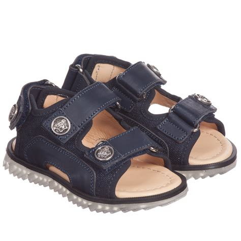 boys navy sandals versace boys navy blue leather sandals childrensalon