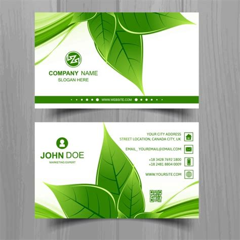 Business Card With A Green Leaf Vector Free Download Leaf Business Card Template