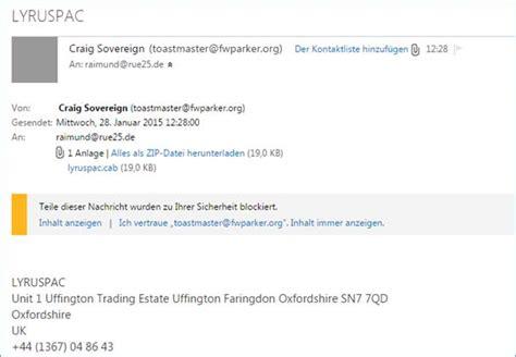 Freiberufler Rechnung Europa Spam Mail Und Mit Schadhaftem Anhang Lyruspac Draig