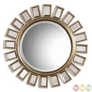 Round Mirror Cyrus Modern Distressed Silver Leaf Round Mirror 14076 B
