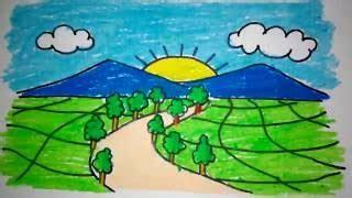 tutorial menggambar pemandangan pegunungan how to draw sawah padi
