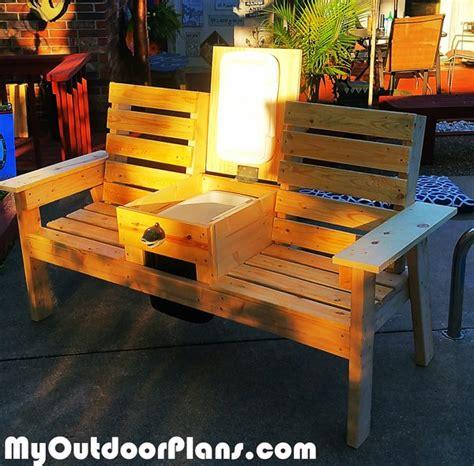 diy garden bench  cooler myoutdoorplans