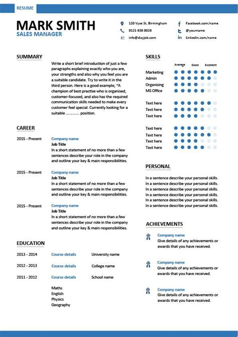 Free Editable Resume Sles Sales Manager Cv Exle Free Cv Template Sales