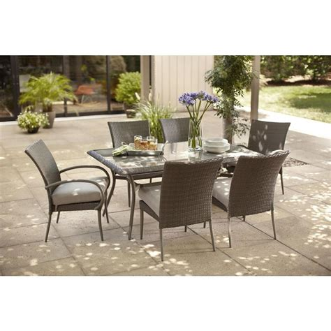 Outdoor Patio Dining Chairs Hton Bay Dining Furniture Posada 7 Patio Dining Set With Gray Cushions 153 120 7d
