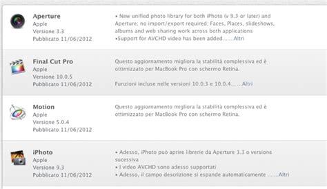 esportare libreria iphoto aperture iphoto cut pro e motion aggiornamenti